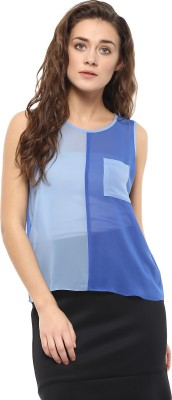 Avirate Casual Sleeveless Solid Women's Blue Top