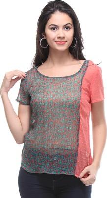 Kaxiaa Casual Short Sleeve Printed Women's Multicolor Top