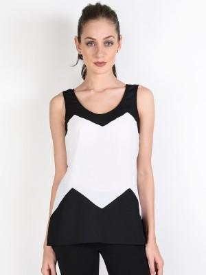 Oshea Casual Sleeveless Applique Women,s Black Top