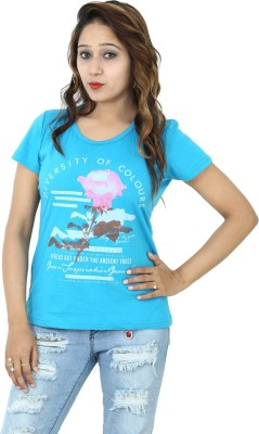 Groviano Casual Short Sleeve Printed Women's Blue Top