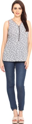 Bella Rosa Casual Sleeveless Printed Women's Grey Top