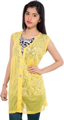Membooz Casual, Party Short Sleeve Printed Women's Yellow, Black Top