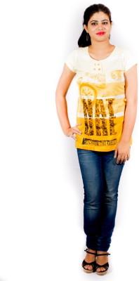 Pragati Fashions Casual Cape Sleeve Printed Women's Yellow, White Top