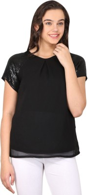 Nordic Bazaar Casual Short Sleeve Solid Women's Black Top