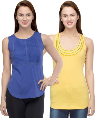 Primo Knot Casual Sleeveless Solid Women's Yellow, Blue Top