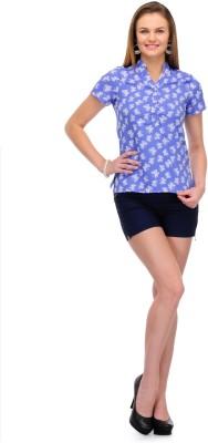 1OAK Casual Short Sleeve Printed Women's Blue Top