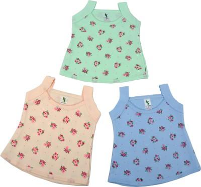Cucumber Casual Sleeveless Printed, Self Design Baby Girl's Green, Orange, Blue Top
