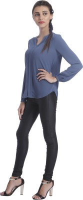 Only Casual Full Sleeve Solid Women's Blue Top