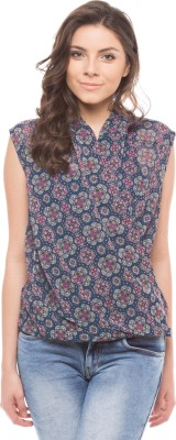 Shuffle Casual Cap sleeve Printed Women's Blue Top