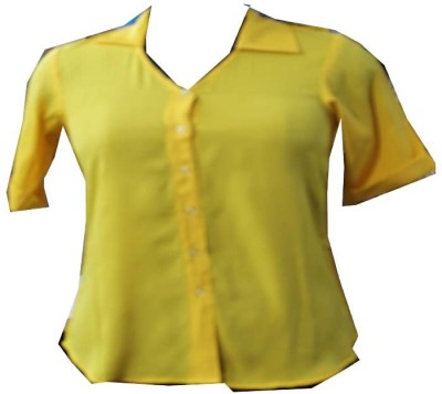 SAP Formal Short Sleeve Solid Women's Yellow Top