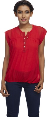 Milano Homme Casual Sleeveless Solid Women's Red Top