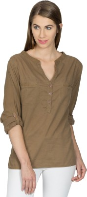 Miss Chick Casual Full Sleeve Solid Women's Brown Top