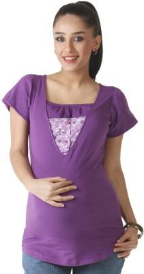 Morph Maternity Casual Short Sleeve Solid Women's Purple Top