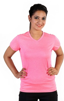 Sjoe Sports Cape Sleeve Solid Women's Pink Top
