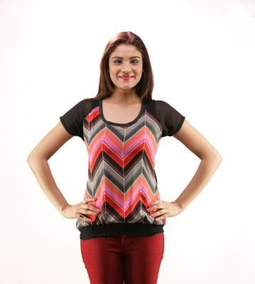 La Divyyu Casual Cape Sleeve Striped Women's Black Top