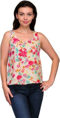 Zachi Casual Sleeveless Floral Print Women's White, Pink Top