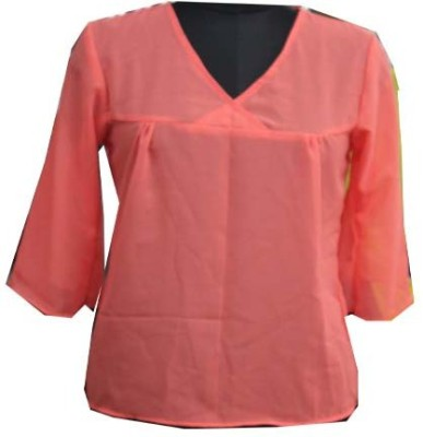 sap Casual Full Sleeve Self Design Girl's Pink Top