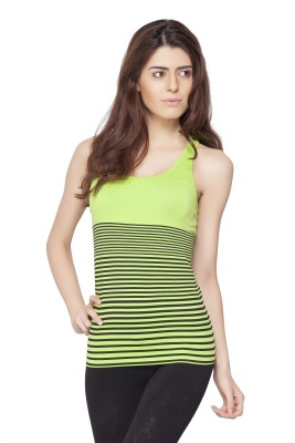 Channel Nine Casual Sleeveless Solid Women's Green Top