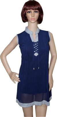 Sarva Party, Casual Sleeveless Solid Women,s Blue Top