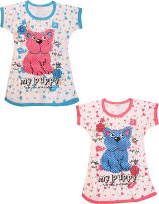 Babeezworld Casual Short Sleeve Animal Print Girl's Multicolor Top