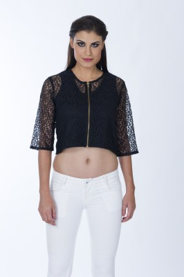 Lisova Casual 3/4 Sleeve Solid Women,s Black Top