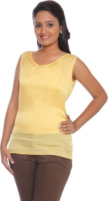 Park Avenue Formal Sleeveless Solid Women's Yellow Top