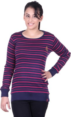 Oner Party, Casual, Sports, Festive Full Sleeve Solid, Striped Women's Blue, Pink Top