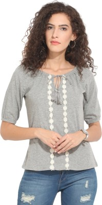 Hook & Eye Casual Short Sleeve Solid Women's Grey Top
