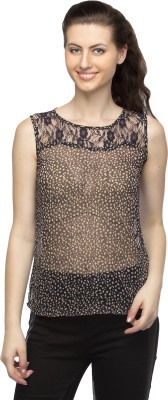 Bantry Casual Sleeveless Printed Women's Blue Top