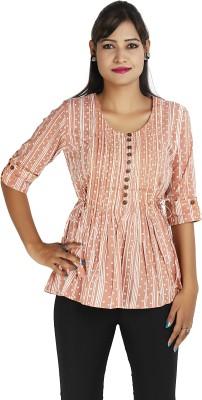Ra Studio Casual, Beach Wear 3/4 Sleeve Printed Women's Pink Top