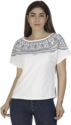 Gudi Party Short Sleeve Embroidered Women's White Top