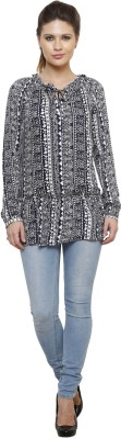 Thousand Shades Casual Full Sleeve Printed Women's White, Blue Top