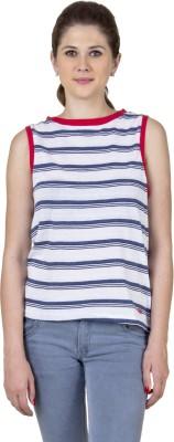 Jprana Casual Sleeveless Striped Women's Red, White Top