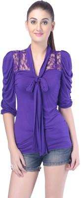 Trendy Divva Casual Short Sleeve Solid Women,s Purple Top