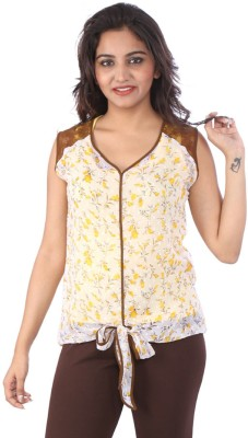 Go4it Casual, Party Sleeveless Floral Print Women,s Yellow, White Top