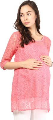 Mine4Nine Casual 3/4 Sleeve Embroidered Women's Pink Top