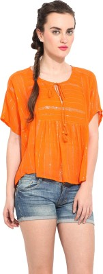 Rena Love Casual Short Sleeve Solid Women's Orange Top