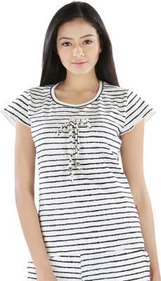 Nite Flite Casual Short Sleeve Striped Women's White, Black Top