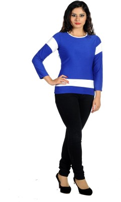 Hugo Chavez Casual 3/4th Sleeve Solid Women's Blue Top at flipkart