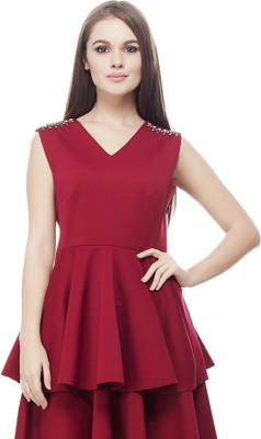 Elegn Casual, Party Sleeveless Solid, Embellished Women's Maroon Top