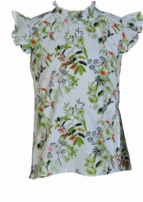 Pinehill Casual Short Sleeve Floral Print Baby Girl's White Top
