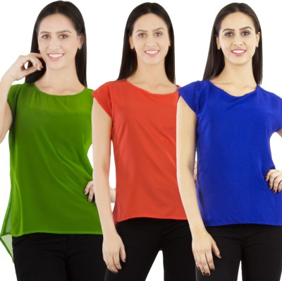 GUDS Casual Cape Sleeve Solid Women's Multicolor Top