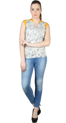 Kg&S Casual Sleeveless Printed Women's Yellow Top
