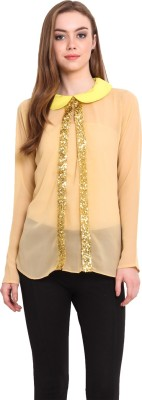 Desi Urban Casual Full Sleeve Solid Women's Beige Top