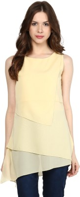 Citrine Casual Sleeveless Solid Women,s Yellow Top