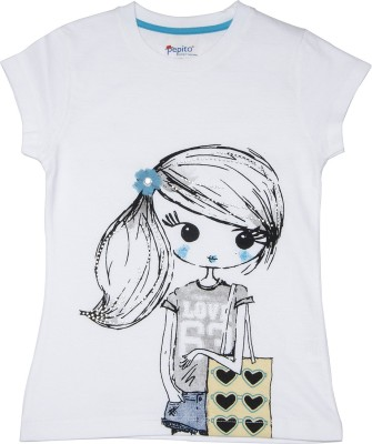 Pepito Party Short Sleeve Printed Girl's White Top