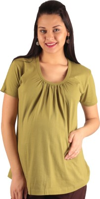 Morph Maternity Casual Short Sleeve Solid Women's Green Top