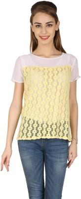 Aussehen Casual Short Sleeve Solid Women's Yellow Top