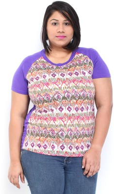 Dressberry Casual Short Sleeve Printed Women's Purple Top at flipkart