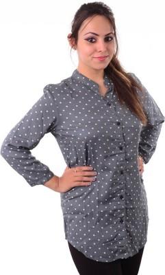 Shivi's Designer Studio Formal Full Sleeve Printed Women's Blue Top